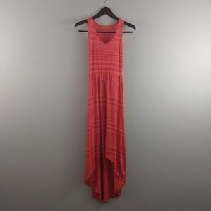 Summery, coral high-low dress